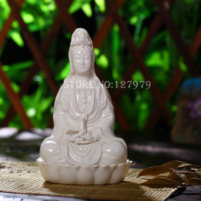 Antique Dehua porcelain Kwan Yin statue mark stand circa late Qing Period