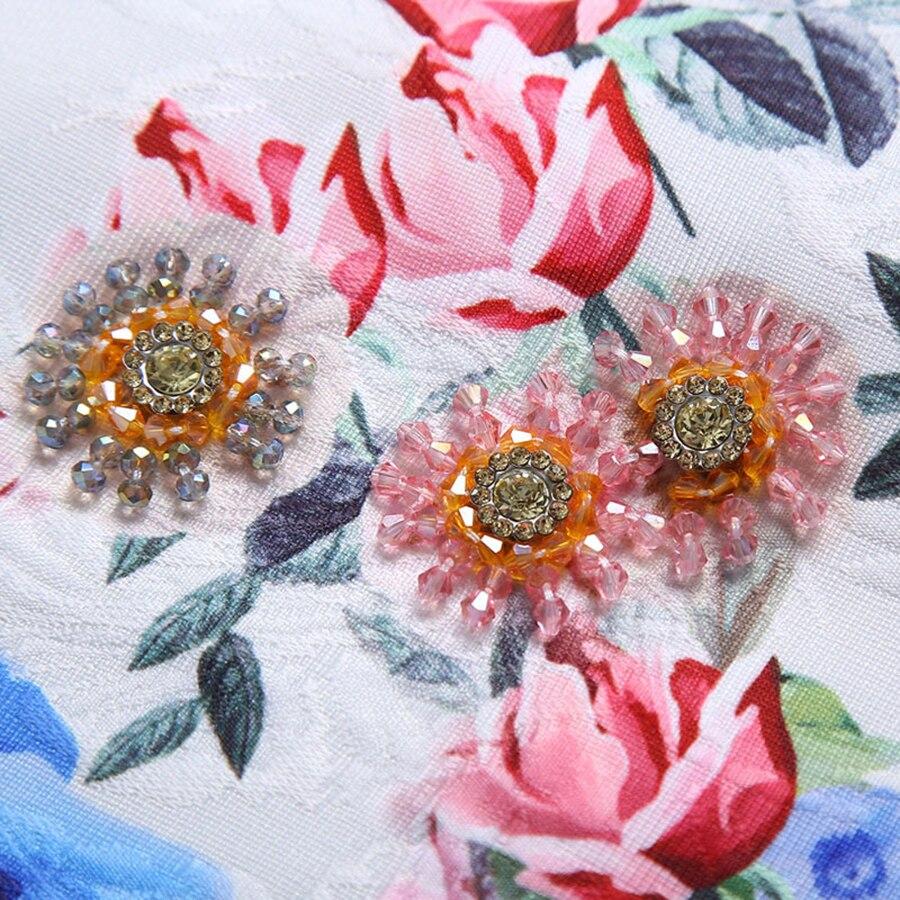 As Imprimer 2019 Sans Femmes Photo Fleur Robe Diamants Aeleseen Perles De Élégant Piste Mini Manches D'été Floral Designer awx6dq