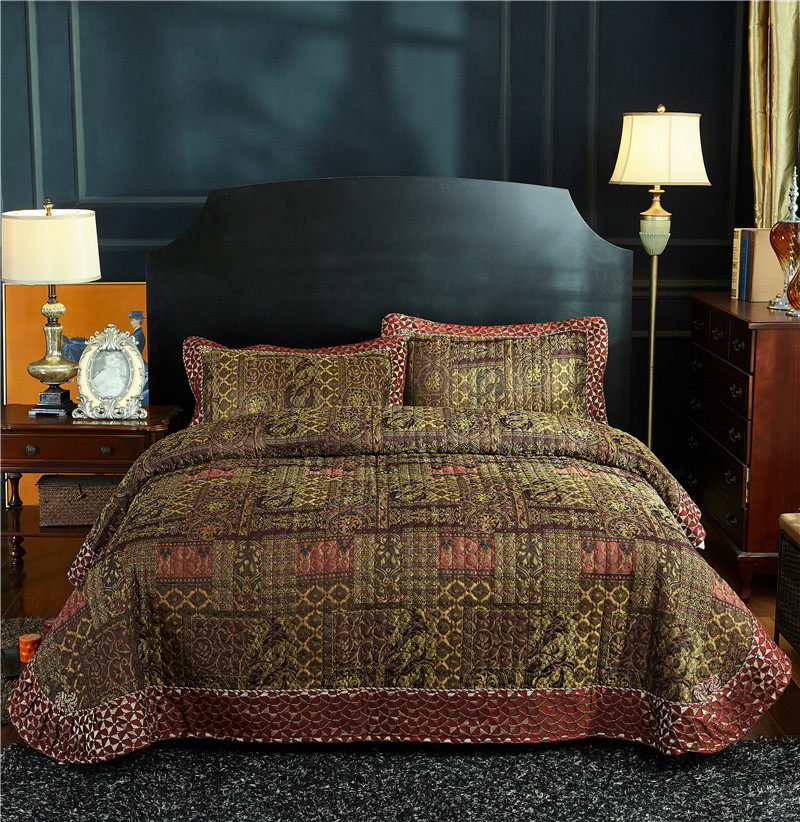 Luxury 3 Pieces Antique Patchwork Quilted Bedspreads Vintage Reversible Coverlet Set ultra Soft Summer Bedspread Queen