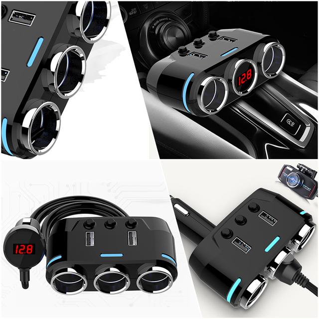 12V-24V Car Cigarette Lighter Socket Splitter Plug LED USB Charger Adapter 3.1A 100W Detection For Phone MP3 DVR Accessories