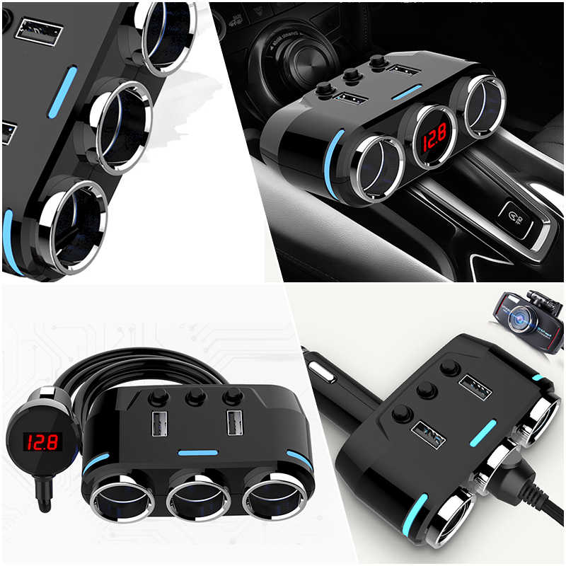 12V-24V Car Cigarette Lighter Socket Splitter Plug LED USB Charger Adapter 3.1A 100W Detection For Phone MP3 DVR Accessories