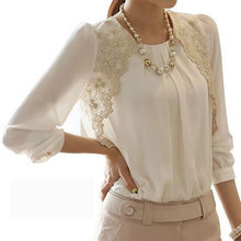 New 2017 autumn spring Women Elegent Lady Lace Hollow Out Chiffon Embroidery Blouse Shirt Basic Top render casual S~3XL D0440