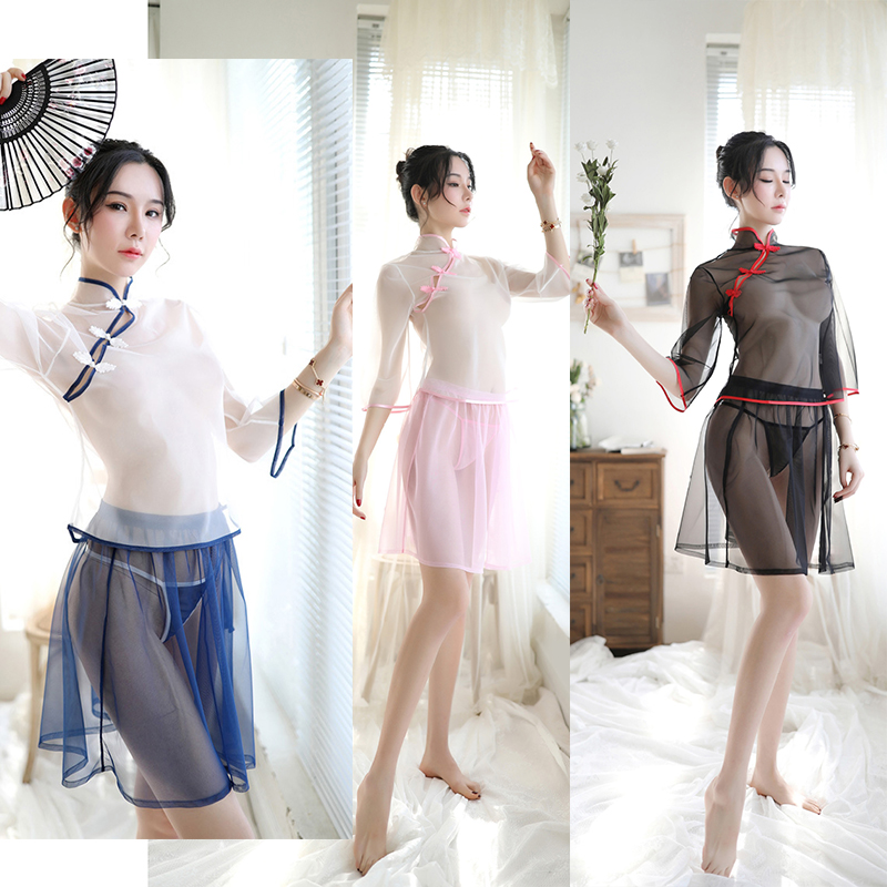 <font><b>Chinese</b></font> Style Cosplay Lingerie Sexy Skirt <font><b>Sex</b></font> Erotic <font><b>Dress</b></font> Women Exotic Costume Traditional Gauze Transparent Veil T-back Gift . image