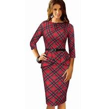 Women Wear To Work Office Dress Knee Length Decorate Ruffle Three Quarter Sleeve Sheath Party Plaid Bodycon Pencil Dresses B267