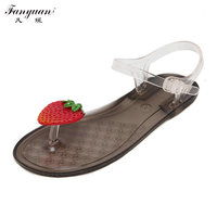 Fashion Woman Flats Sandals Crystal Jelly Shoes Lady 2017 Summer Beach Shoes Flip Flops Fresh Fruits