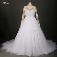 RSW809 Sheer See Through Corset Lace Pattern Puffy Tulle Wedding Dress Ball Gown