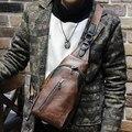 Los hombres de moda bolsa de mensajero pequeño de cuero de la pu bolso de hombro bolsillos paquete pecho ocio marrón bolsa de viaje del bolso del cruz-cuerpo bolsa