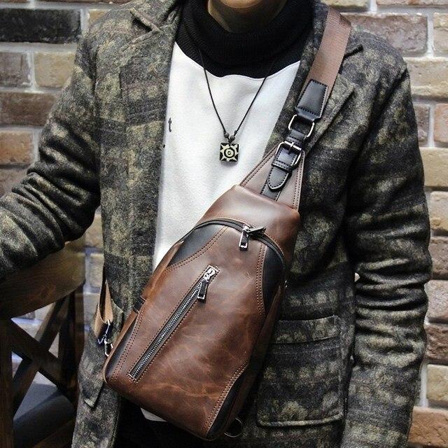 Men fashion messenger bag small pu leather shoulder bag chest pack pockets  leisure brown bag handbag 0f6675a233521