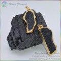 Natural Turmalina Negra Rock Fatia Espécime Pingente/Pingente De Energia 50mm ~ 70mm