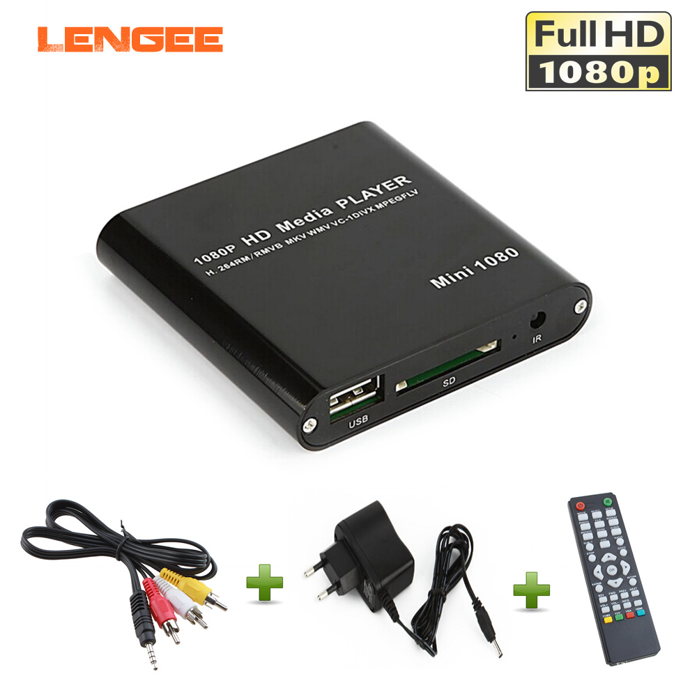 UE Plug Portable Full HD 1080 P USB Mini DISQUE DUR Externe Lecteur avec SD MMC Lecteur de Carte Host Soutien RMVB MKV WMV HDMI Media Player