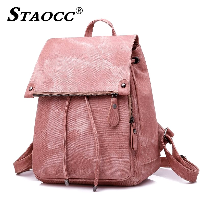Pink Backpack Women Drawstring School Bag For Gilrs Leather Waterproof Shoulder Bag Female Travel Small Backpack Bagpack Mochila school bags for college
