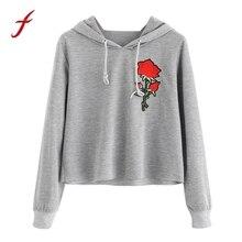 FEITONG Fashion Womens Long Sleeve Sweatshirt Rose Print Hoodies Causal Tops Autumn Winter High Quality Hoody sweatshirt 2017