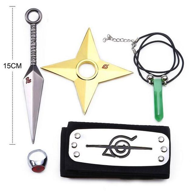 5PCS/Lot Naruto Kunai Cosplay Accessories Items Weapons Naruto Weapon Set Headband Necklace Tsunade Minato Metal Knife Toys