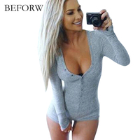 BEFORW Fall Winter Women Sexy Long Sleeved Short Jumpsuit Solid Color Slim Fashion Plus Size Jumpsuit