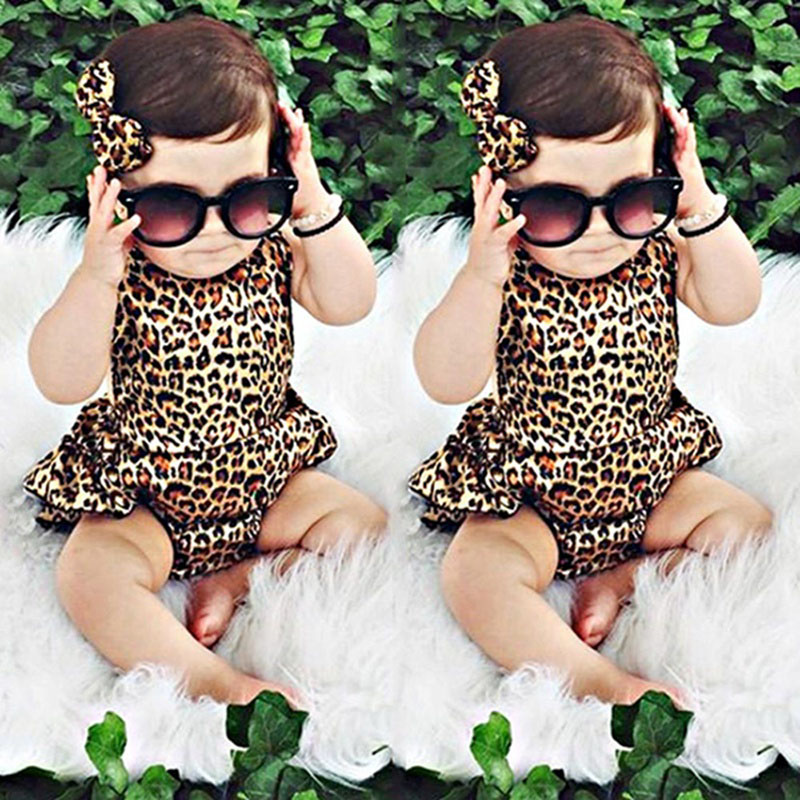 Baby Girls   Rompers   Dress Kids Toddler Infant Cotton Belt Leopard One-piece   Romper   Ruffles Summer Jumpsuit Outfits bebe Clothes