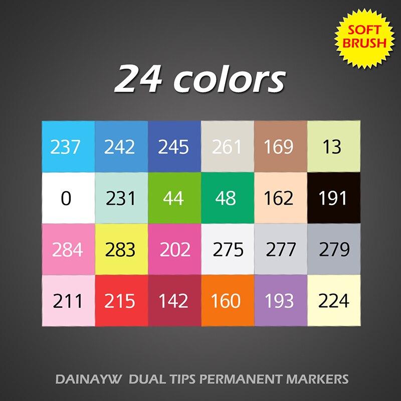 Dainayw 24 couleurs doux pinceau marqueurs Set à base d'alcool croquis marqueur pour Manga conception professionnelle dessin Art fournitures - 5