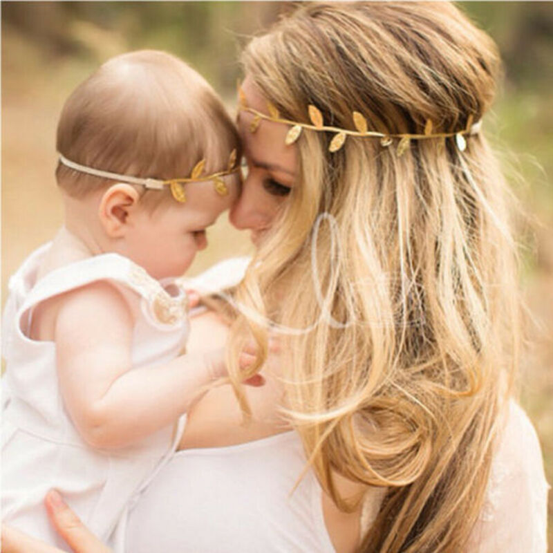 ♛❀♛ 2pcs Golden And Silver Head Headband Cute Accessories Beautiful Mother And Daughter Leaf Headwear Photography Headwear
