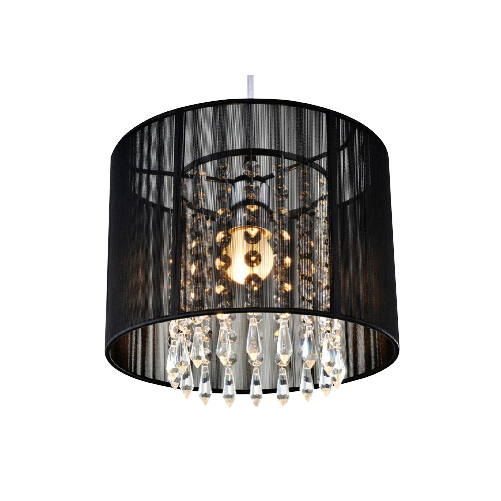 Black crystal chandelier with 1 led bulb flush mount mini for Lustre baroque noir