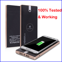 Ultra Thin 2 USB 10000mah Wireless Power Bank External Battery Pack Portable Qi Charger For IPhone