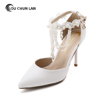 White Crystal Wristband Wedding Shoes Ultra High Heels Thin Heels Tassel Shoes Bridal Shoes New Arrival