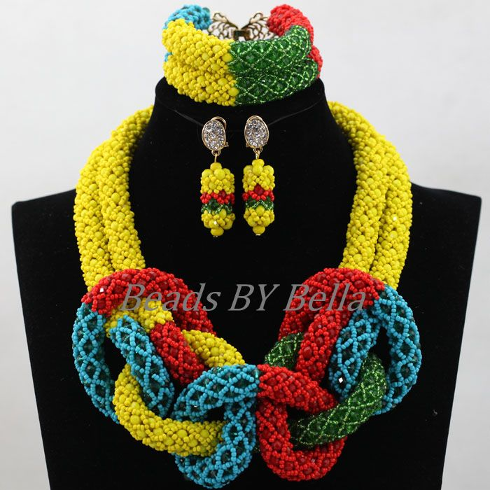 Handmade African Wedding Beads Multicolor Crystal Jewelry Set Women Statement Necklace Bridal Jewelry Sets Free Shipping ABL138