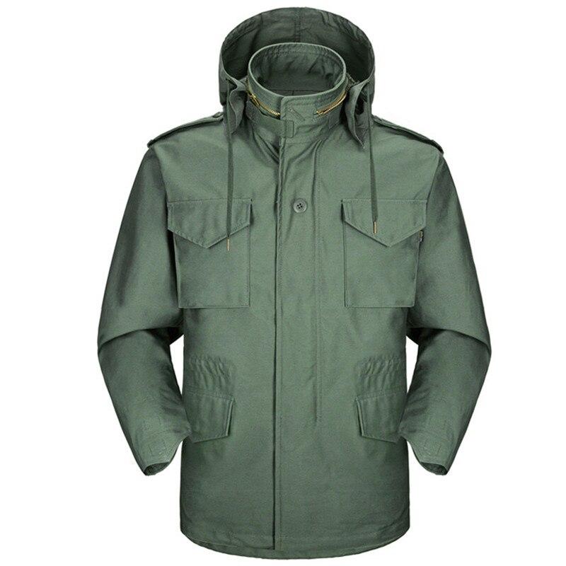 M65 Jungle Waterproof Jacket + Detachable Liner Windbreaker Outdoor Hiking Hunting Wear Resisting Army Tactical Hooded Coat Tops