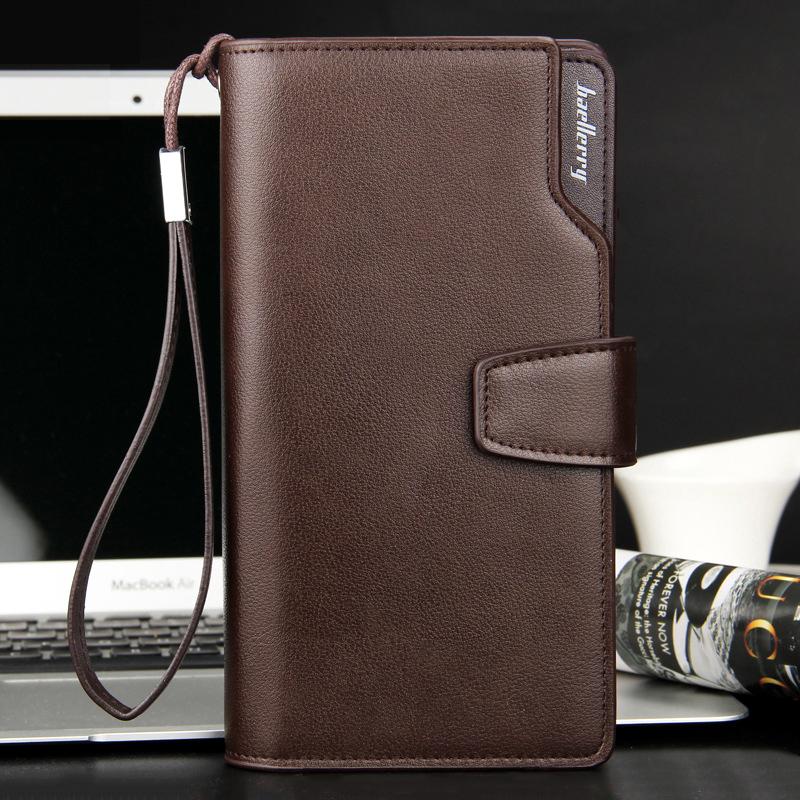 Top Quality leather long wallet men zipper wallets men women money bag pocket mltifunction brown one size 8