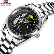 TEVISE Relojes 男性腕時計自動機械式時計トゥールビヨンスポーツ時計ステンレスレザーカジュアルビジネスレトロ腕時計