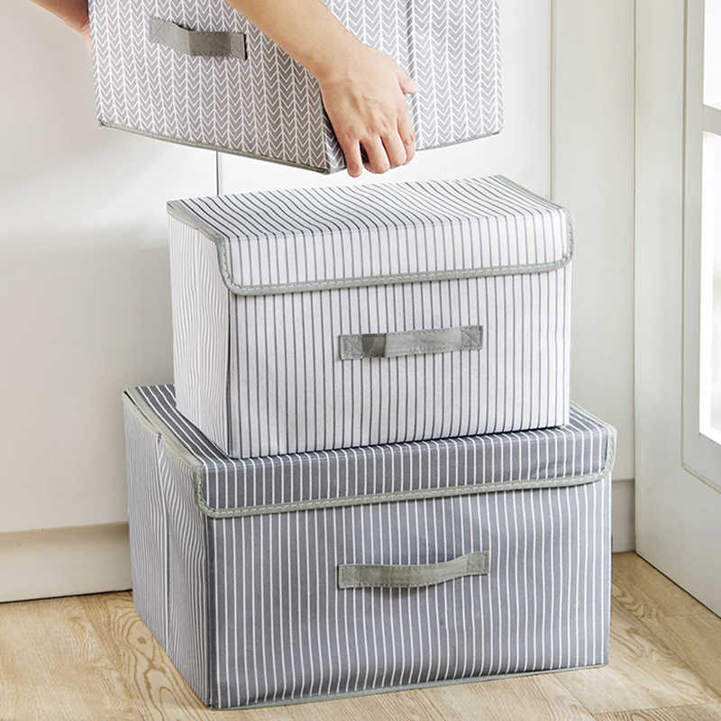 2018 New Storage Box Simple Non-woven Folding Kitchen Multi-purpose Clothes Toy Book Debris Organizer Home Wardrobe Storage Box