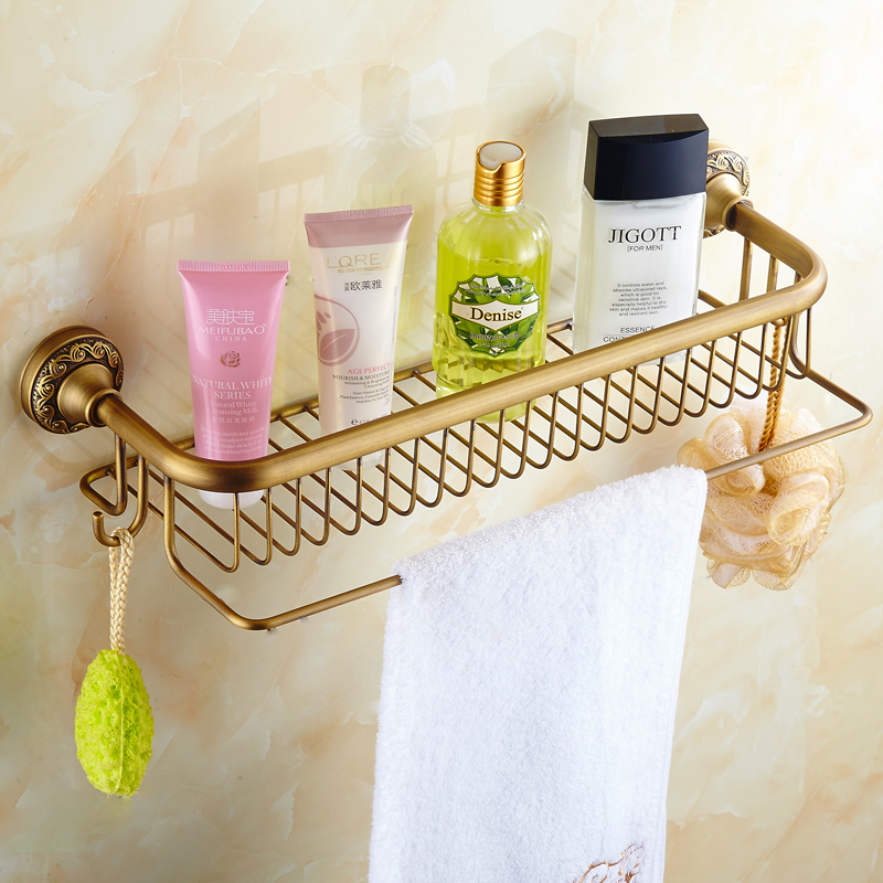 Antique Basket Bathroom Shelf European Copper Hanging Pendant Bathroom Cosmetic Towel Rack With Hooks Bathroom Accessories AC auswind 2 layer silver corner basket bathroom products luxury cosmetic storage bathroom shelf holder bathroom accessorie pf10