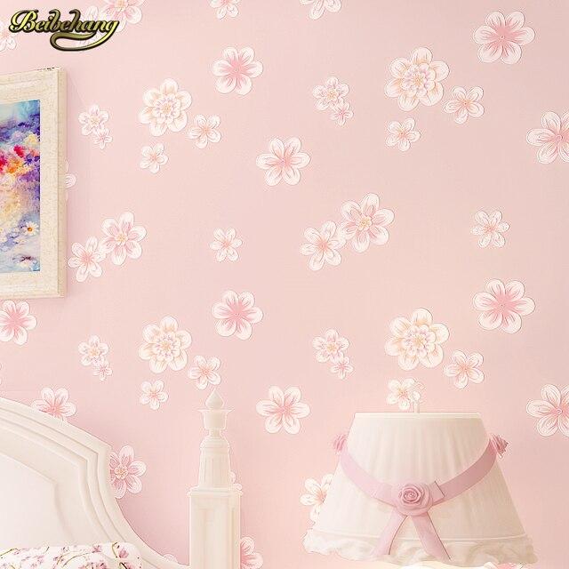 US $26.04 38% OFF|Beibehang Mädchen Rosa Pastoralen Floral 3D vliesstoffe  Tapete Kinderzimmer Prinzessin Zimmer Schlafzimmer Romantische papel de ...