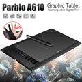 """A610 Parblo Arte Gráfica Digital Prancheta Pintura w/Recarregável Pen Tablet de 10x6 """"5080LPI com Luva"""