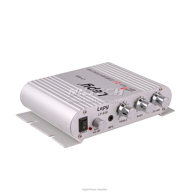 LP-838 Lepy MINI Digital Car Power Amplifier 2.1CH 20W 2x15W Hi-Fi MP3 MP4 Stereo Booster DVD Motorcycle Home BASS Audio Player
