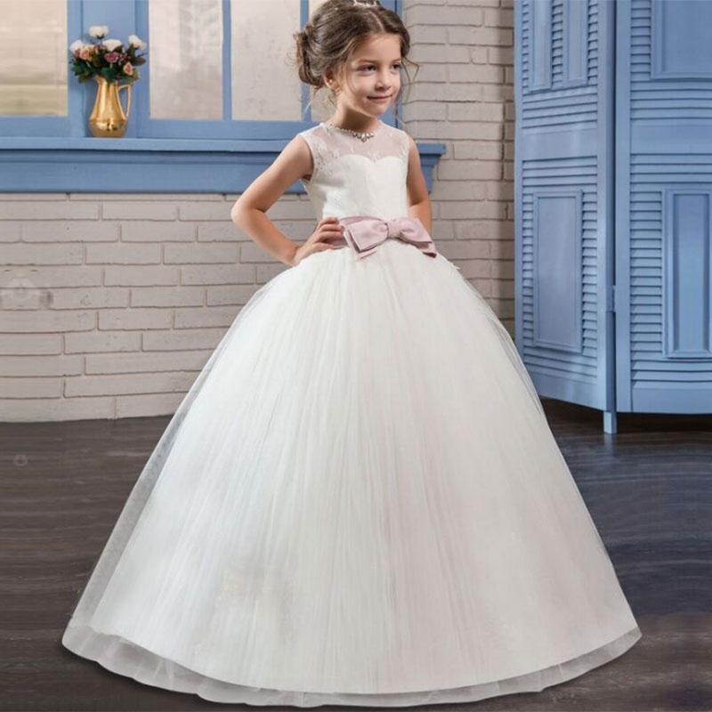 2019 Girl Fluffy Clothing First Communion Dress Kids Wedding Party Dress Birthday Party Dress Girl Lace Petal Party Long Costume