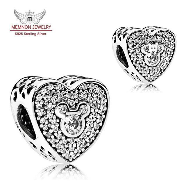 Mickey y Minnie Corazón Espumosos charms plata de ley 925 pulsera del encanto del grano de DIY para el regalo del Día de San Valentín DSN079