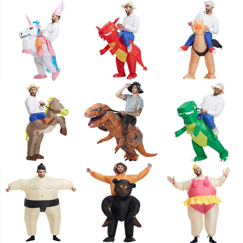 Carnaval unisex dinosaurus cowboy opblaasbare kostuums grappige feestjurk dier cosplay halloween purim voor volwassen en kinderen