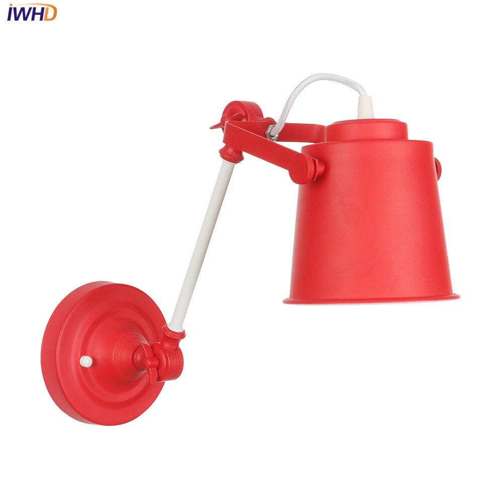 IWHD fer réglable coloré applique LED nordique Loft applique murale Vintage industriel Wandlamp rétro applique murale pour l'éclairage de la maison