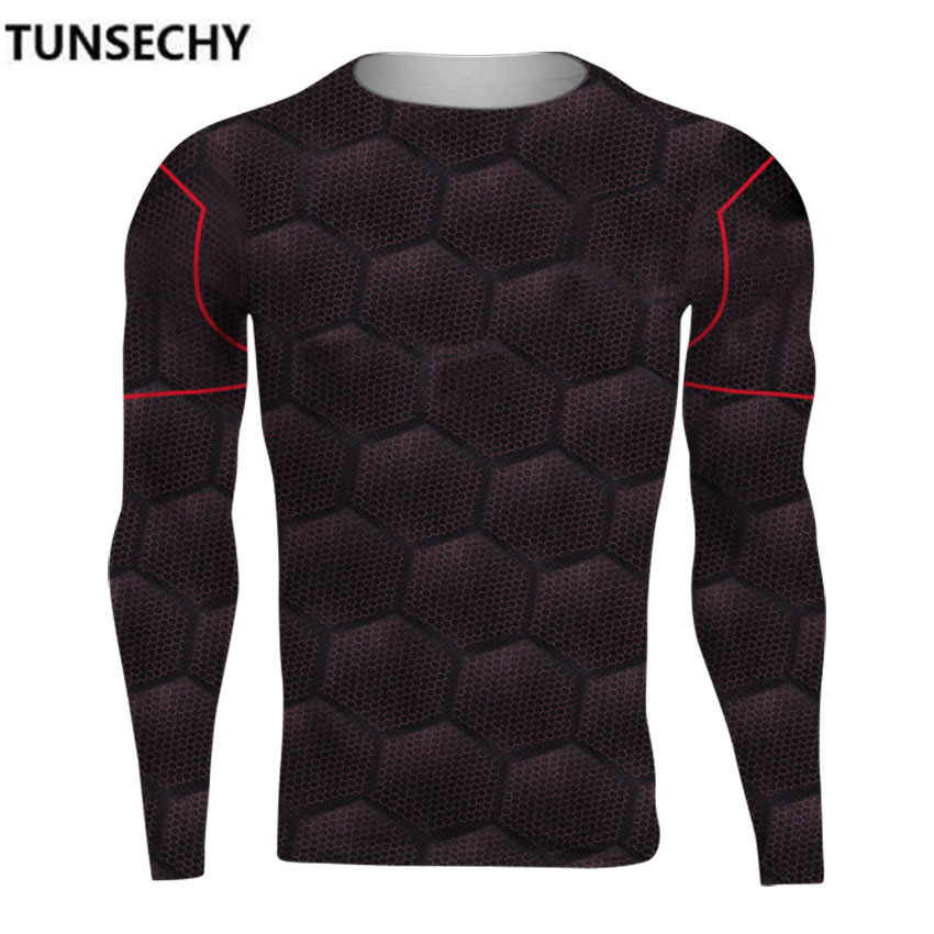 TUNSECHY Brand Avengers Alliance 3 Iron Man 3D Digital printing Long sleeve T-shirts Male fitness compression tight T-shirts