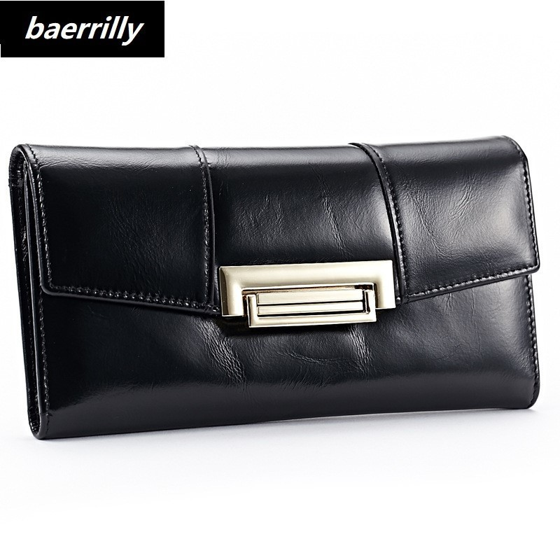 2018 New Women Wallets Oil Wax Genuine Leather High Quality Long Design Day Clutch Cowhide Wallet Fashion Female Card Coin Purse