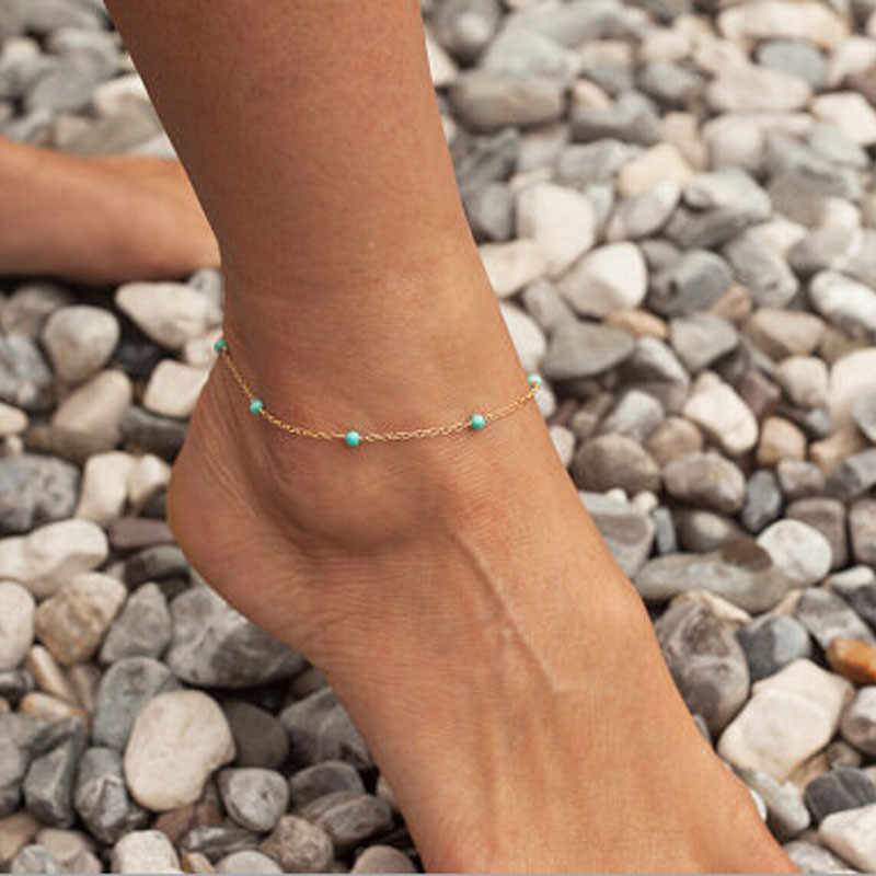 2018 Boho Opal Female Anklets Barefoot Crochet Sandals Foot Jewelry Leg New Anklets On Foot Ankle Bracelets For Women  533