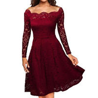 Robe Mujer Embroidery Vintage Lace Dress Women Off Shoulder Dresses Long Sleeve Casual Evening Party A