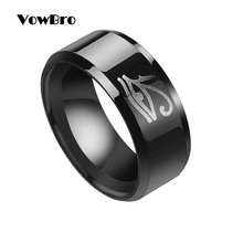 VowBro Egyptian Eye of Horus Ra Udjat Amulet Ring 316L Stainless Steel Biker Ring Vintage Gift Male Jewelry(China)