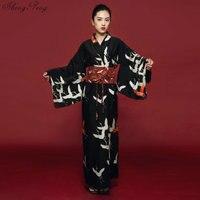 2019 Harajuku Black kimono female yukata women haori Japan geisha costume obi Japanese kimono traditional dress cosplay V1353