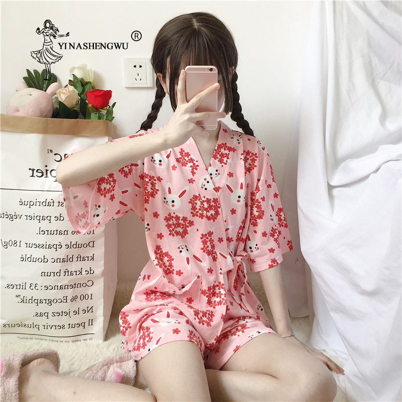 Sakura Rabbit Kimono Women Short Pajamas Sets Asia Japan Yukata Cotton Shorts Bathrobes Short Sleeves Homewear Japanese Kimono
