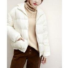 d64dfc713fe97 Зимняя куртка женская одежда гусиный пух пальто Harajuku черные куртки  корейские пальто с капюшоном парка Doudoune