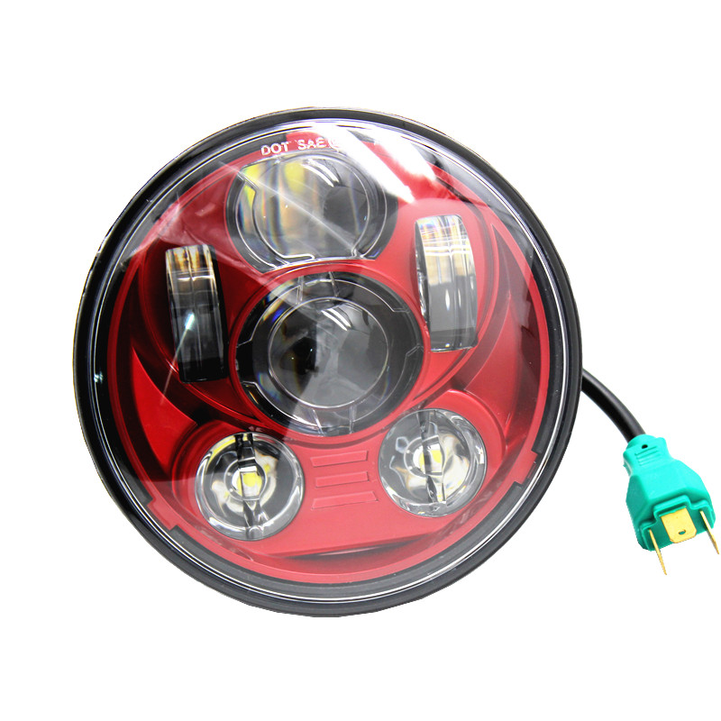 5-3/4 5.75 Inch Moto Projector LED Headlight For Harley Davidson Motorcycles Headlamp 45W Red