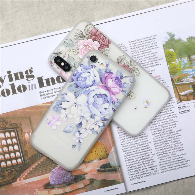 Flower Silicone Phone Case For iPhone 7 8 Plus Rose Floral Leaves Cases For iPhone X 8 7 6 6S Plus 5 5S SE Soft TPU Cover Coque