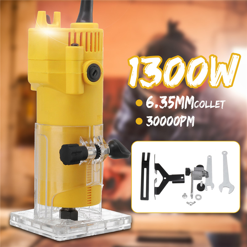 1300W 6.35MM 30000rpm Electric Trimmer Wood Laminate Router 110V US /220V EU Woodworking Trimming Tools Carving Milling Machine1300W 6.35MM 30000rpm Electric Trimmer Wood Laminate Router 110V US /220V EU Woodworking Trimming Tools Carving Milling Machine