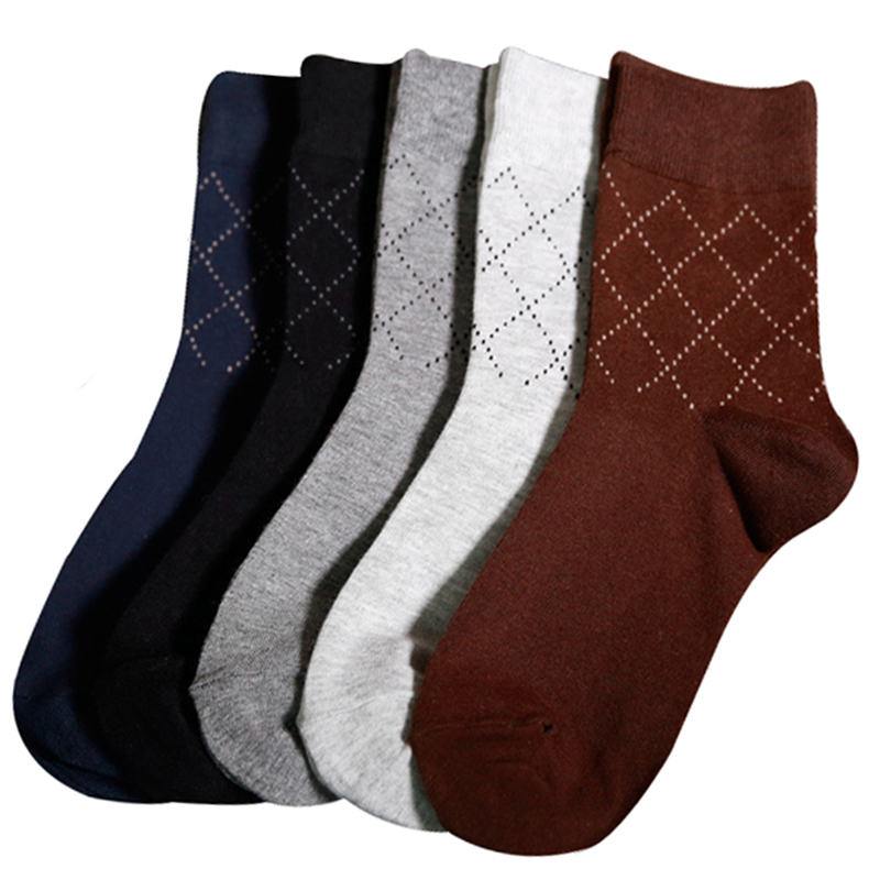 5pairs Men Socks Summer Autumn High Quality Plaid Gift Man Socks Business Casual Pure Cotton Breathable Male Sock Meias Sox Crew