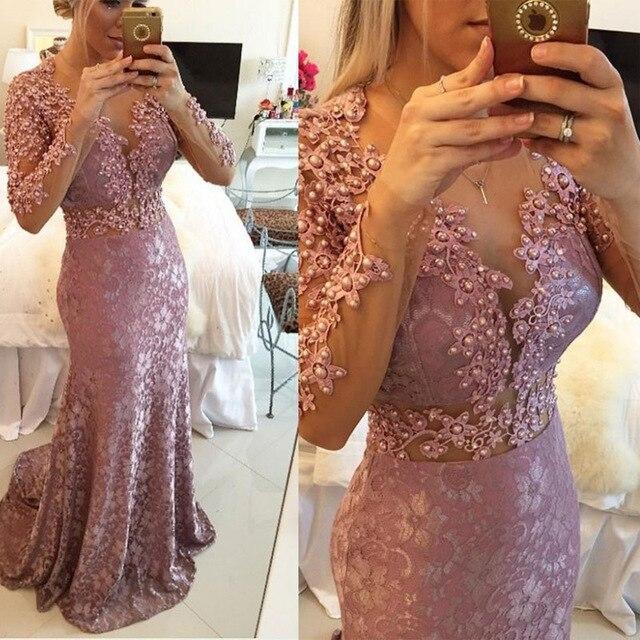 Beaded Mermaid Long Sleeve Sheer Neckline Floor Length Women Formal Long Sexy Evening Gown 2018 Mother Of The Bride Dresses